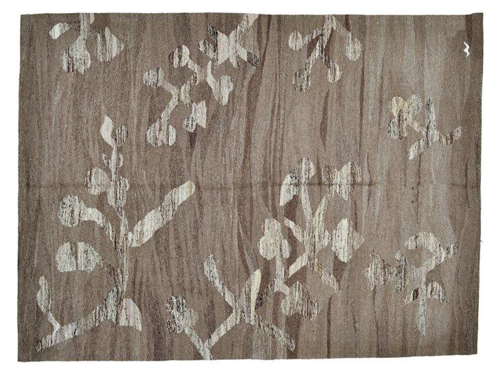 """6'9""""x9' Kundar Flat-Weave Rug, Brown"""