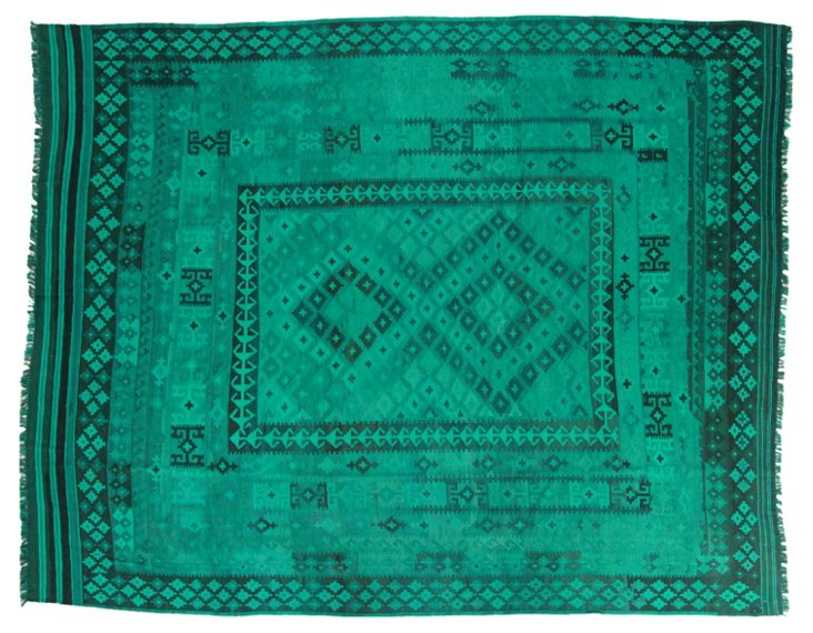 """8'5""""x10'6"""" Yadid Flat-Weave Rug, Emerald"""