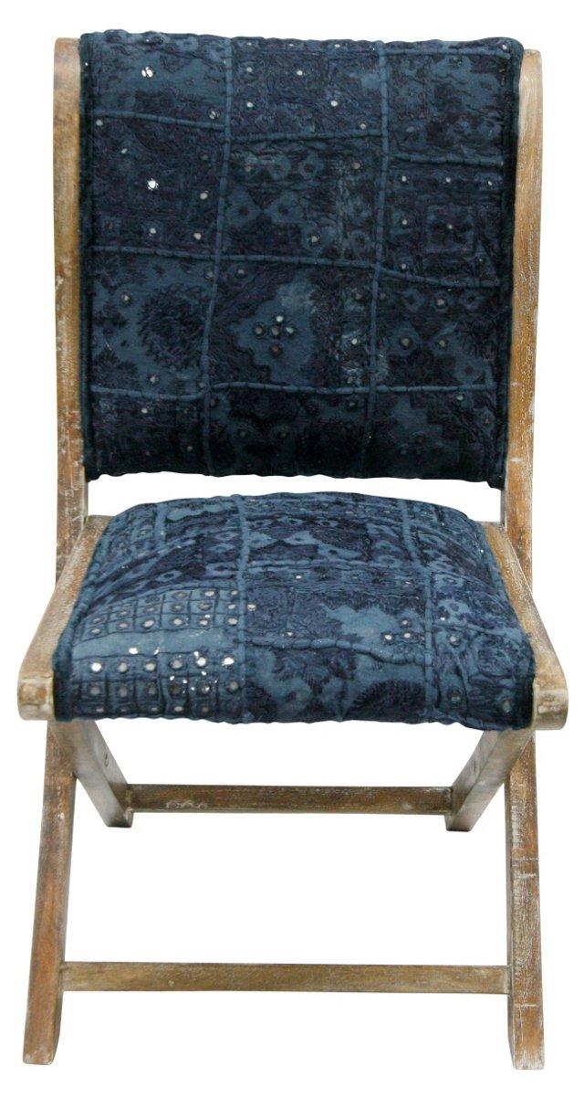 Sari Silk Folding Chair, Blue