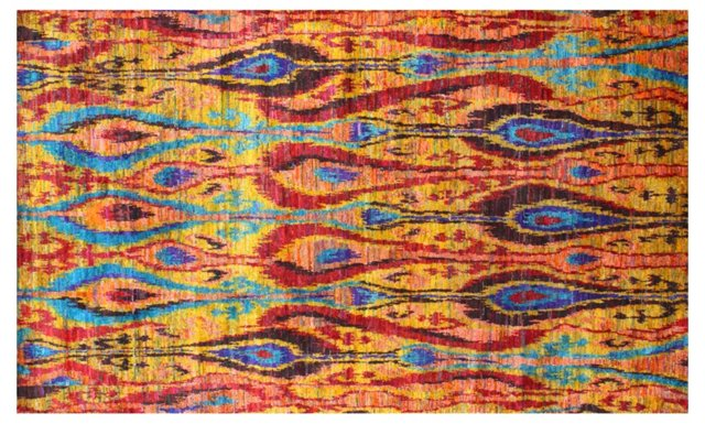 Silk Ikat Rug, Gold/Multi