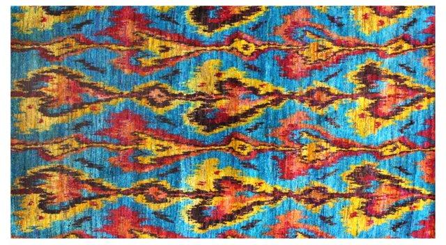 Silk Ikat Rug, Azure/Multi