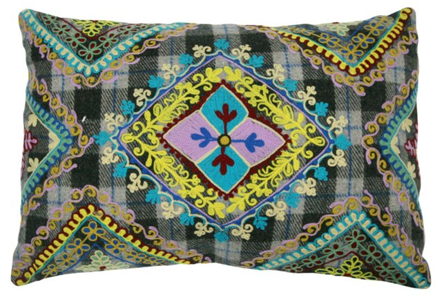 Scrolls 14x20 Embroidered Pillow, Multi