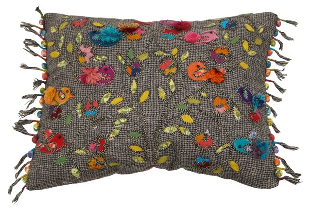 Chirp 16x20 Embroidered Pillow, Multi