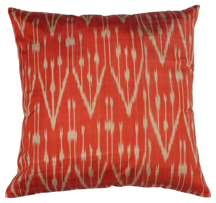 Tina 18x18 Silk-Blended Pillow, Orange