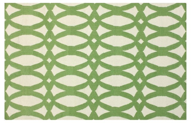 Cyra Flat-Weave Rug, Green