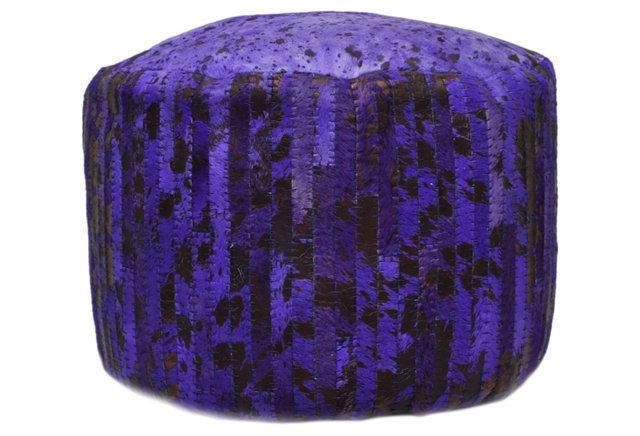 Cowhide Pouf, Purple