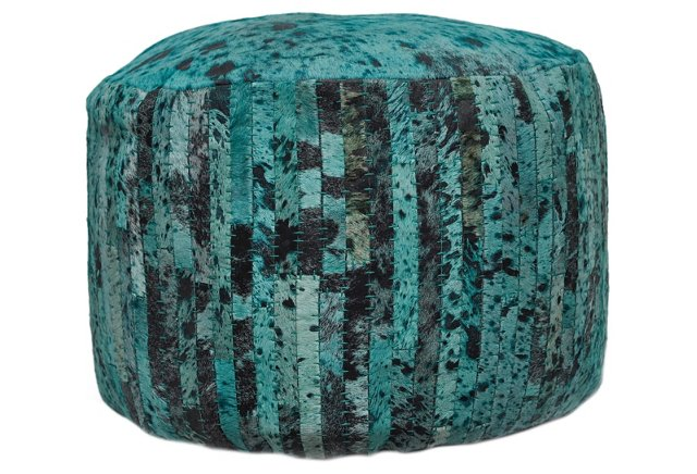 Cowhide Pouf, Turquoise