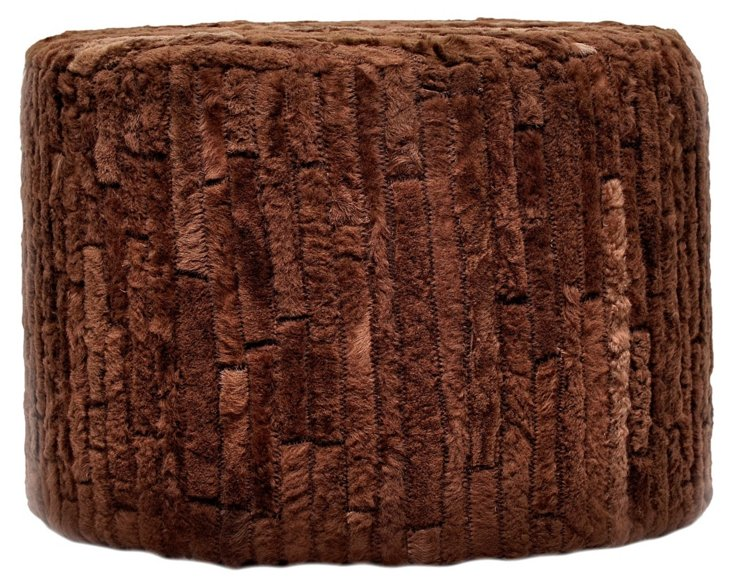 Perry Cowhide Ottoman, Brown