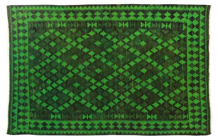 "6'6""x9'4"" Orione Flat-Weave Rug, Green"