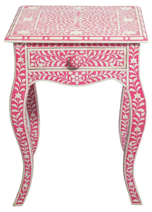 Izzy Bone Inlay Nightstand, Coral