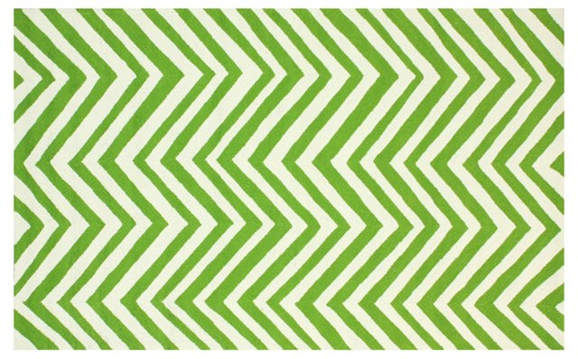 Chevron Outdoor Rug, Green