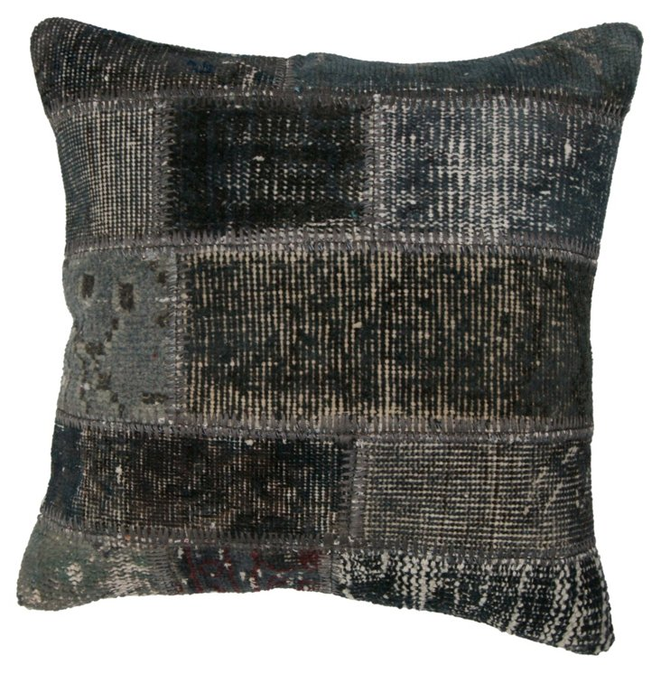 Patchwork 20x20 Wool Pillow, Charcoal
