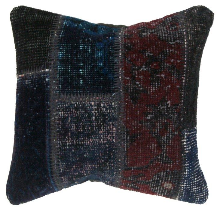 Patchwork 16x16 Pillow, Navy/Maroon