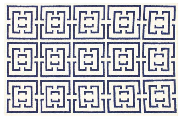 5'x8' Shiara Flat-Weave Rug, Navy