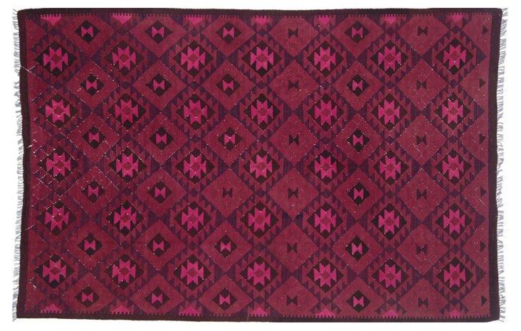 """6'4""""x9'9"""" Ramona Flat-Weave Rug, Pink"""