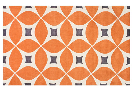 Zinnia Rug, Deep Orange