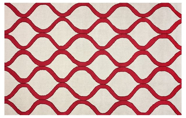 5'x8' March Outdoor Rug, Wine