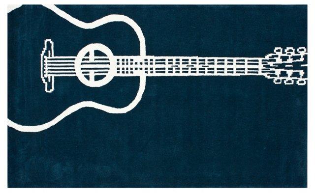 5'x8' Guitar Rug, Teal