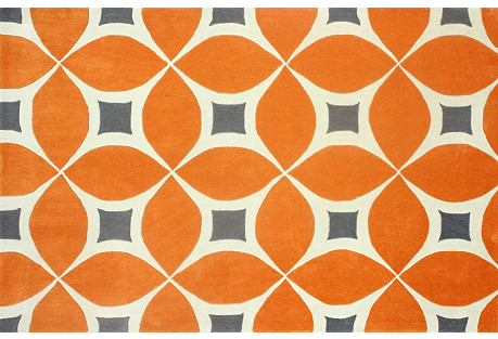 Zinnia Rug, Deep Orange