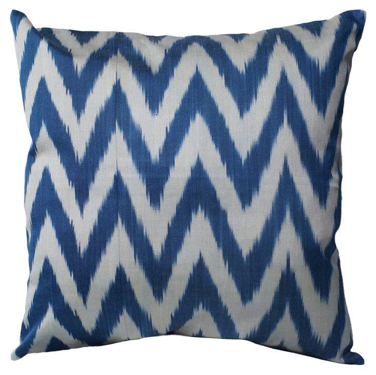 Chevron Cotton Pillow, Blue