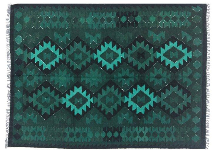 "4'10""x6'6"" Daryah Flat-Weave Rug, Green"