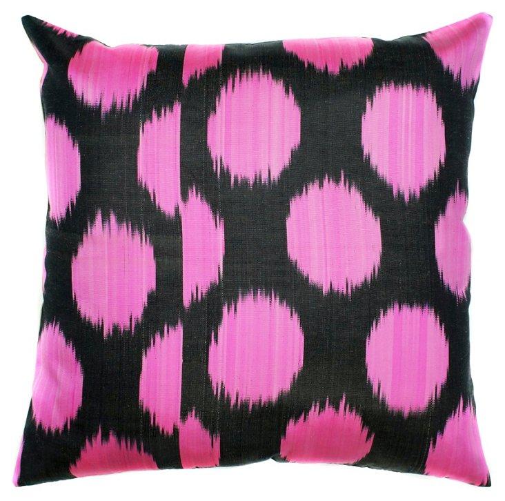 Ikat 18x18 Silk-Blended Pillow, Pink