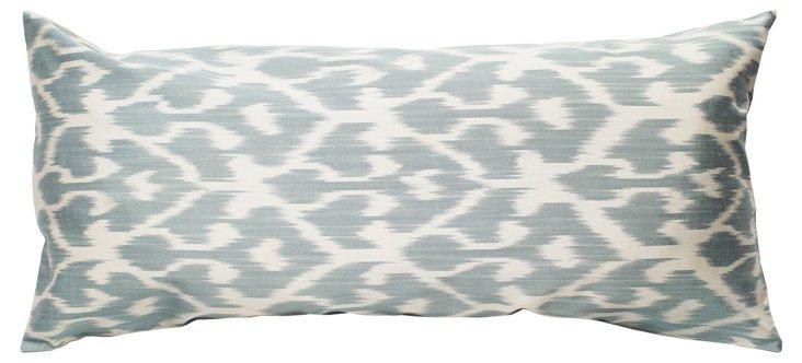Ikat 15x30 Cotton Pillow, Gray
