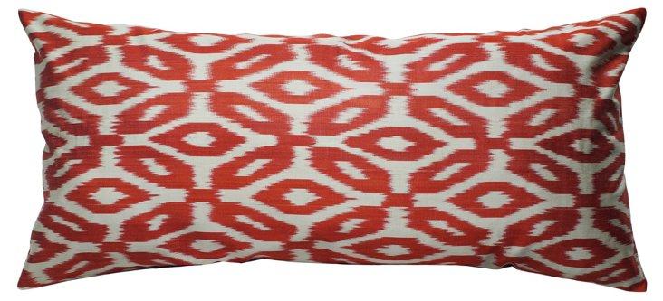 Ikat 15x30 Cotton Pillow, Orange
