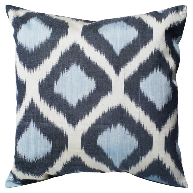 Ikat 18x18 Cotton Pillow, Blue