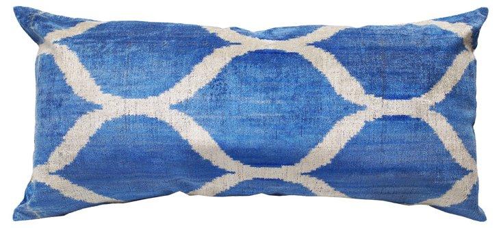 Ikat 15x30 Silk-Blend Pillow, Blue