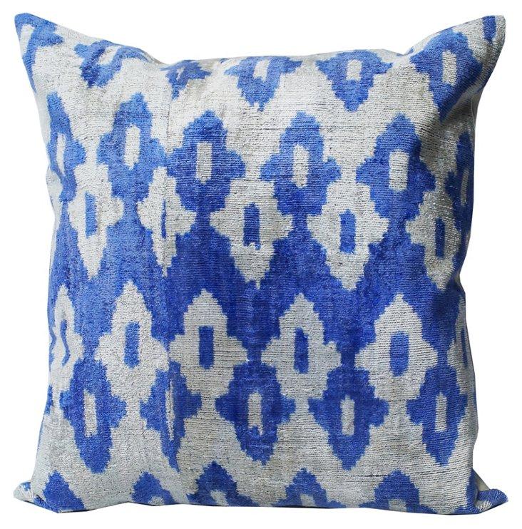 Ikat Silk-Blended Pillow, Blue