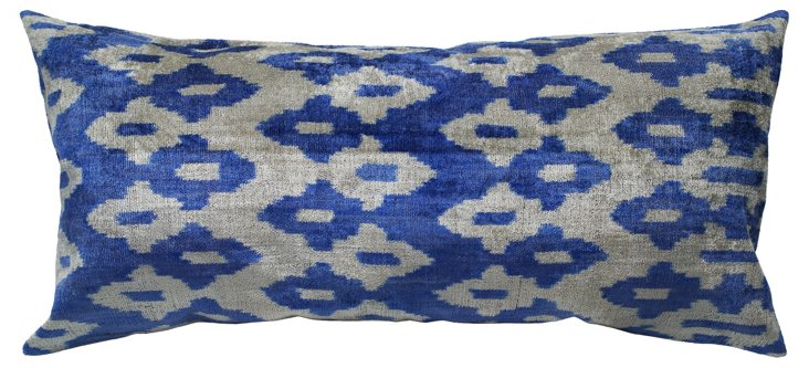 Ikat 15x30 Silk-Blended Pillow, Blue