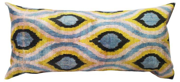 Ikat 15x30 Silk-Blended Pillow, Multi
