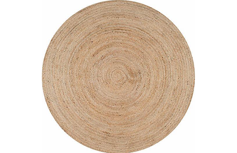 Mintaka Round Jute Rug, Natural