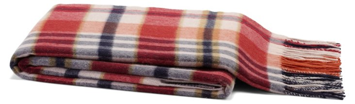 Plaid Cashmere-Blend Throw, Red