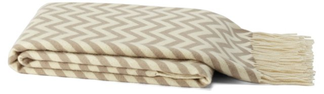 Chevron Cashmere-Blend Throw, Fawn