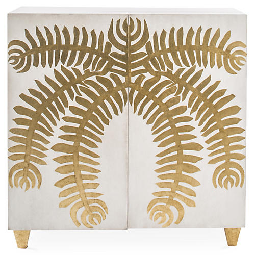 Palm Chest, White/Gold
