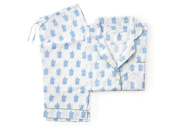 Turtle Long Pajama Gift Set, Azure