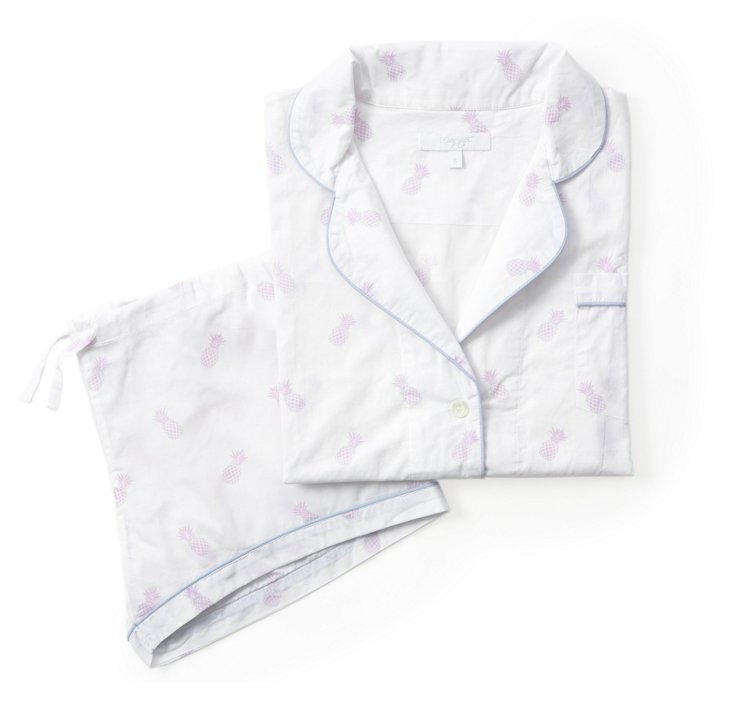 Pineapple Lorient Short Pajama Set, Lav