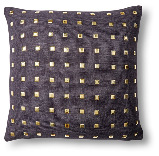 Glamour 16x16 Cotton Pillow, Black