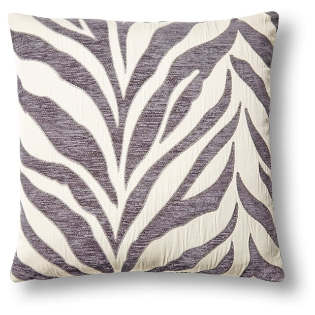 Zebra 18x18 Embroidered Pillow, Gray