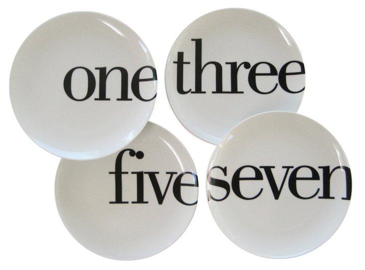 S/4 Porcelain Odd-Number Salad Plates