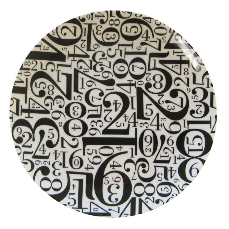 Number Platter/Charger, Black/White