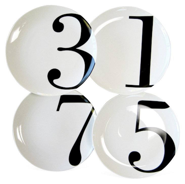 S/4 Porcelain Odd-Number Dinner Plates