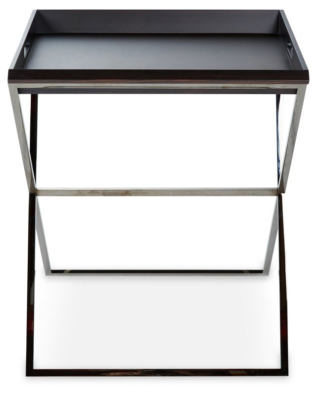 "Dual 16"" Low Side Tray Table, Ebony"
