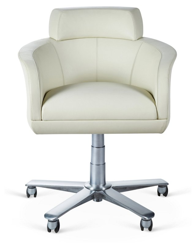 Selectus  Leather Desk Chair, White