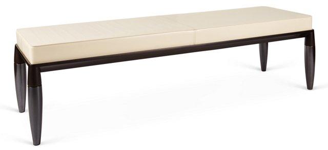 "Roi 63"" Leather Bench, Cream"