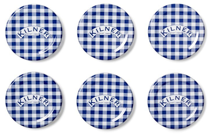 S/12 Twist Top Lids, Blue/White