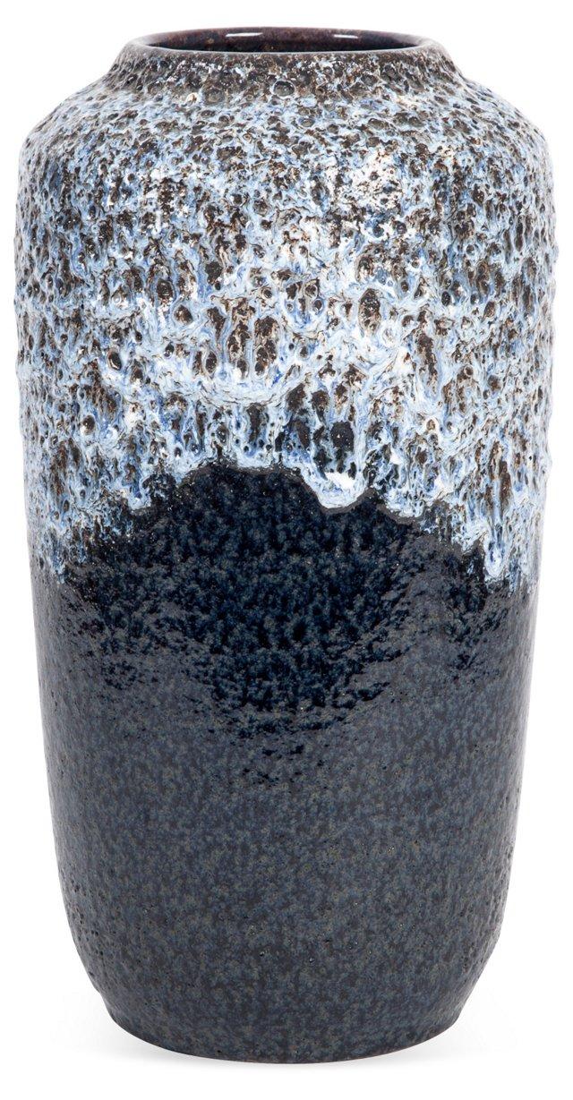 Midcentury Modeled Blue Vase