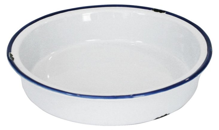 Tinware Pie Plate, White/Blue